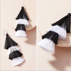 Anthropologie tassel black and white earrings